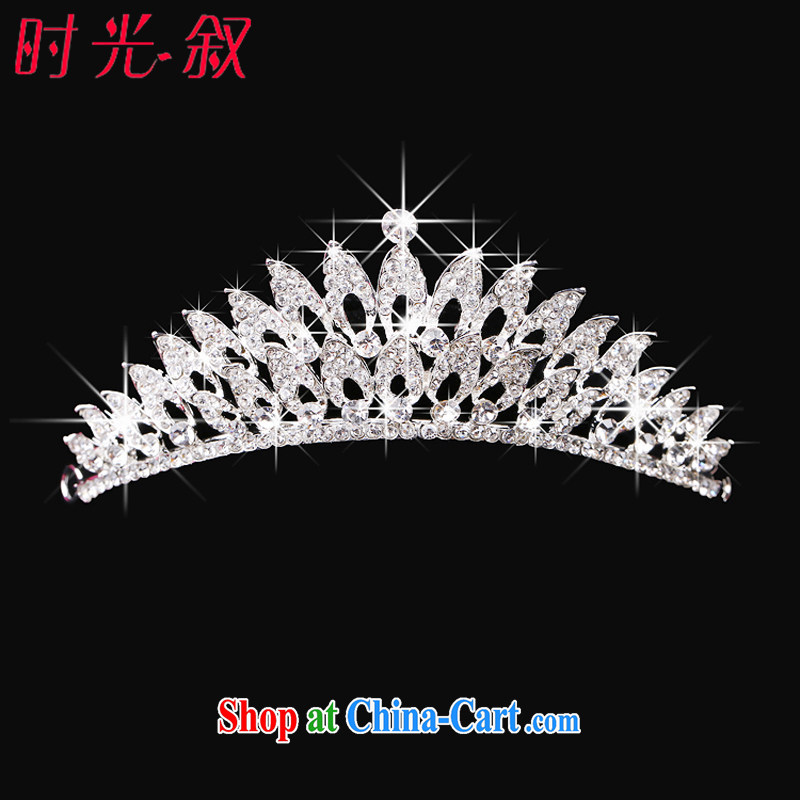 Time his bride's crown and jewelry Korean-made clamp marriage dresses accessories hair accessories jewelry red jewelry 3-piece kit Crown