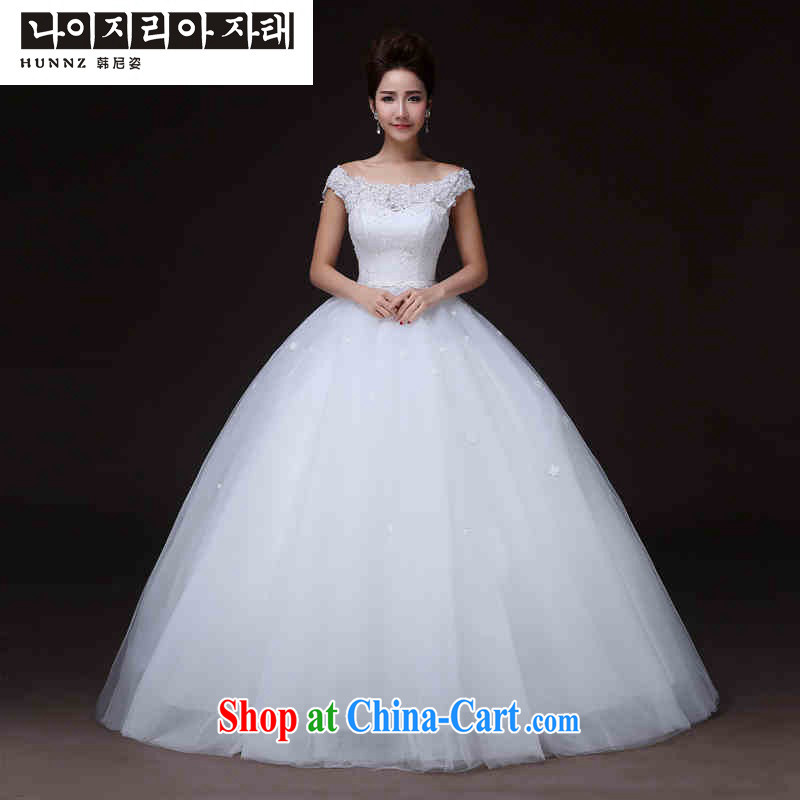 Products hannizi 2015 spring and summer elegant stylish and simple beauty with a shoulder larger bridal gown white XXL