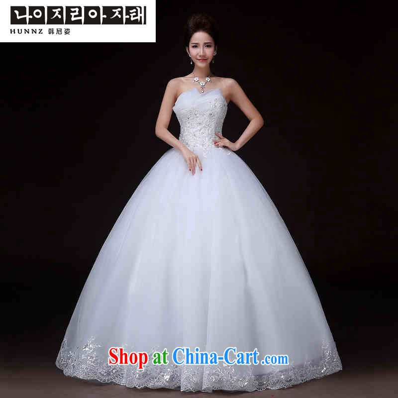 Products HUNNZ 2015 new Korean-style bare chest modern and simple in spring and summer-tail bridal wedding white XXL