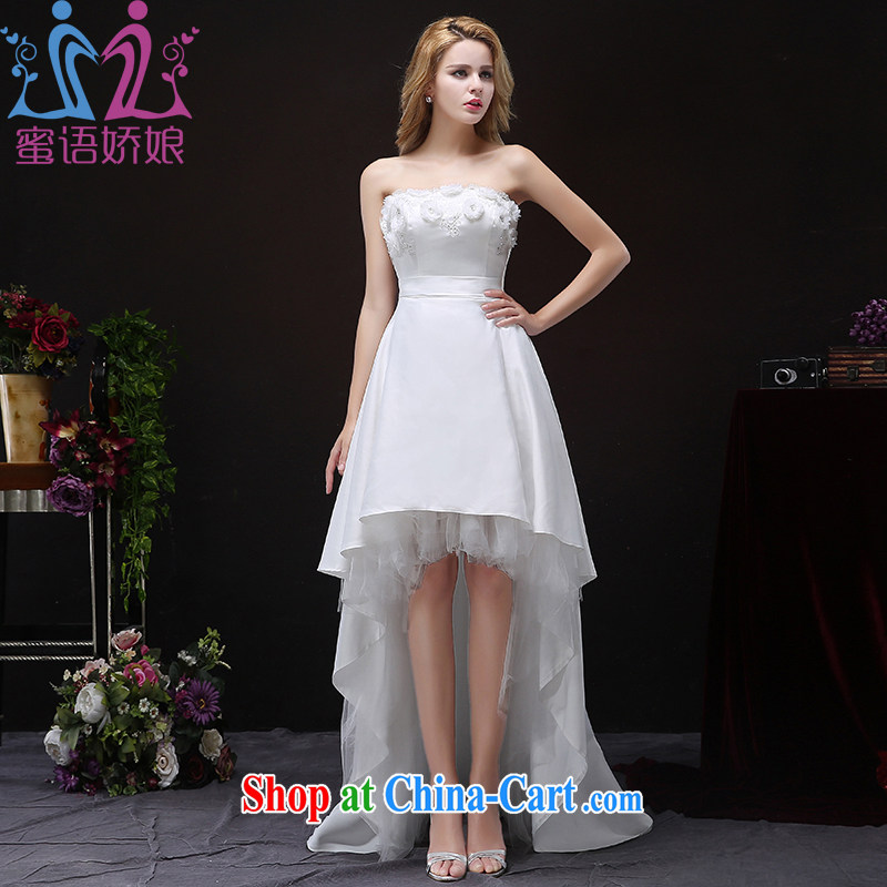 Honey, bride bridal wedding autumn 2015 new front short, Mary Magdalene and chest Korean tail graphics thin large code wedding dresses white XXL
