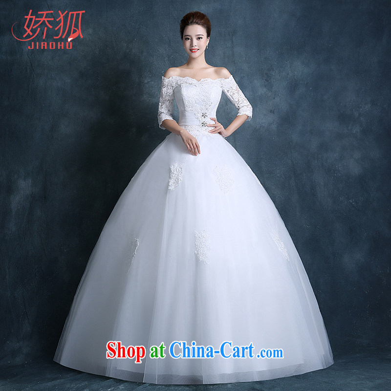 Air Fox wedding 2015 new autumn Korean fashion a shoulder bag shoulder with lace wedding dresses larger custom white XXL