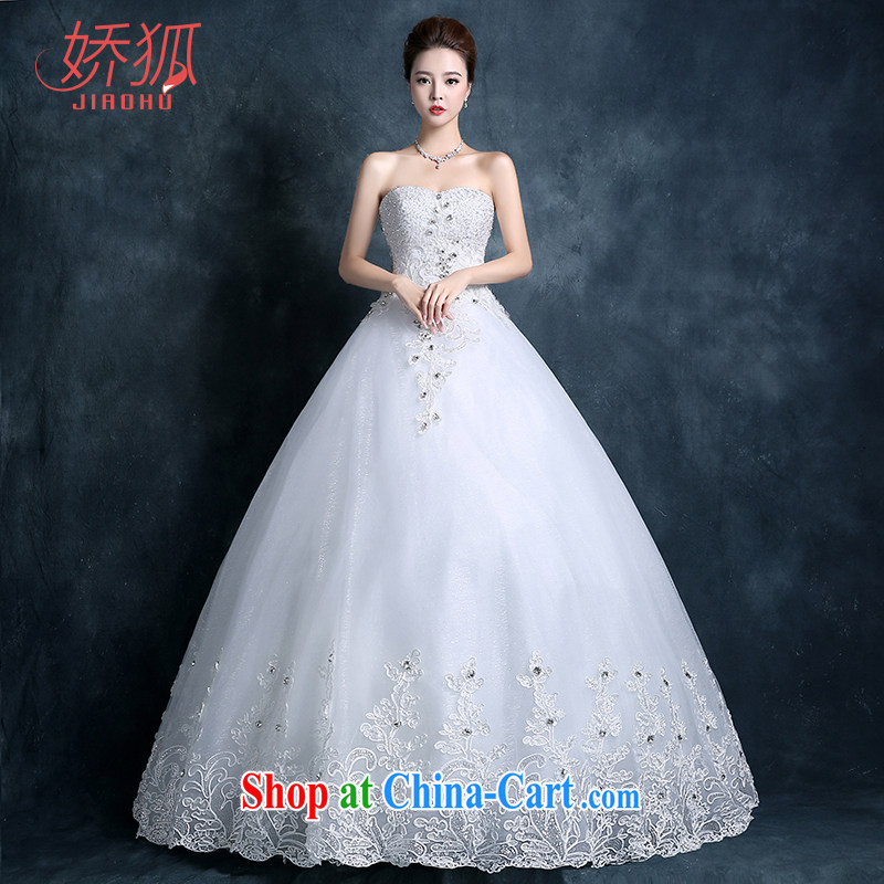 Air Fox fall 2015 wedding dresses new bridal flowers lace custom tied with Korean Princess minimalist wipe his chest, wedding white XXL