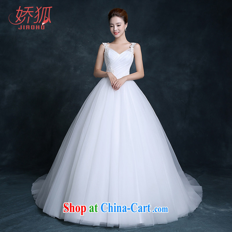 Air Fox new stylish wedding dresses Korean lace shoulders small tail field shoulder alignment, simple and classy simple bridal lace wedding white customization