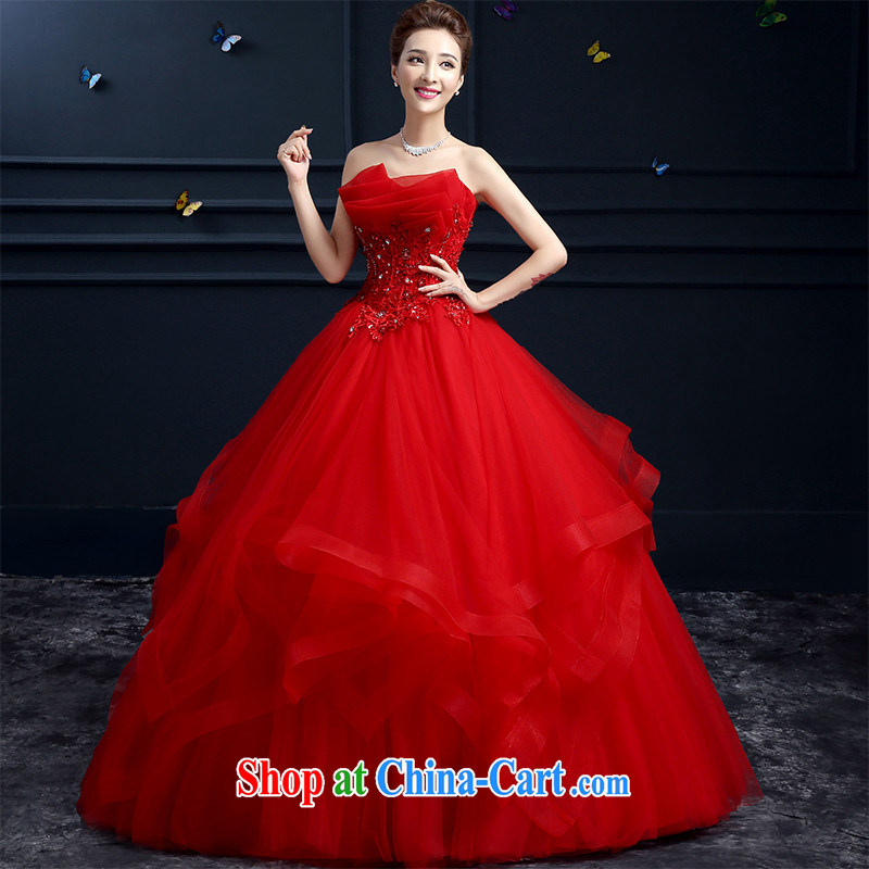 Products HUNNZ 2015 spring and summer Korean red wiped his chest large high fashion with long bridal wedding red XXL