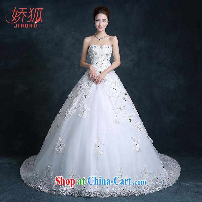 Air Fox 2015 autumn new bridal wedding dresses long-tail erase chest cultivating large numbers with large flower tail custom white XXL