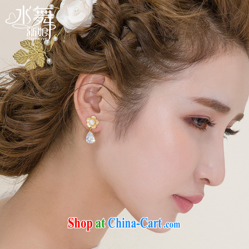 Water dance bridal earrings gold flowers Pearl flower ?? folder retro ear ornaments accessories H 0301 gift boxed