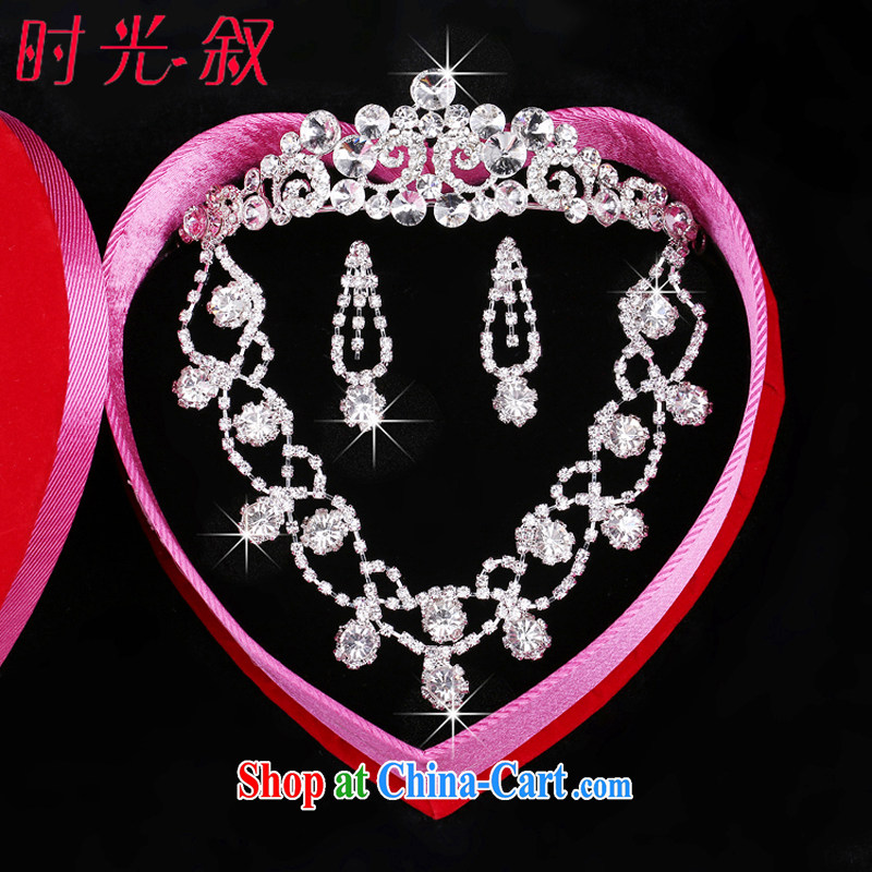Time his bride's head-dress, decorated wedding dresses accessories water diamond necklace Korean-style wedding jewelry, Crown 3-piece kit gift set 3 piece set