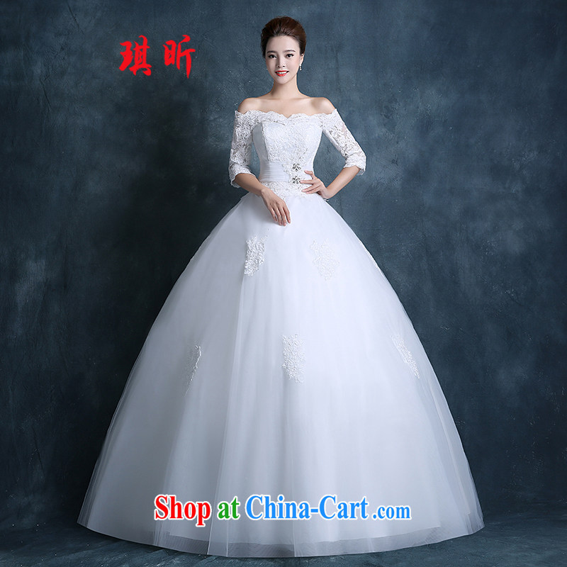 Angel year wedding 2015 new autumn Korean fashion a shoulder bag shoulder with lace wedding dresses larger custom white XXL