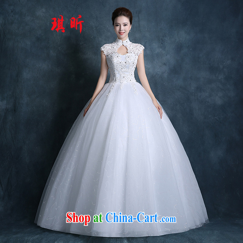Angel year marriage dresses fall 2015 new Korean bridal graphics thin beauty dresses for larger lace with parquet drill white XXL