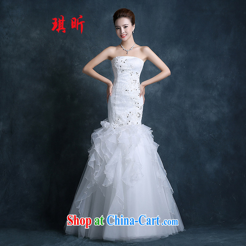 Angel year tail crowsfoot wedding dresses fall 2015 new Korean-style smears chest bridal lace red code beauty graphics thin female white XXL