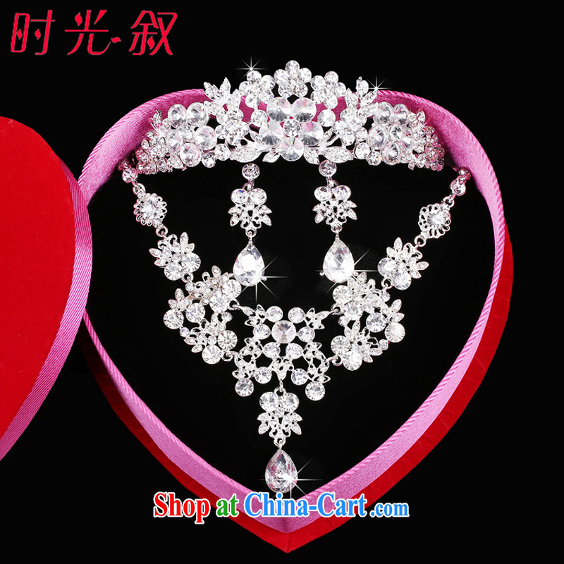 Time his Korean-style bridal wedding jewelry jewelry kit and trim Crown necklace earrings 3 piece wedding accessories gift set 3 piece set