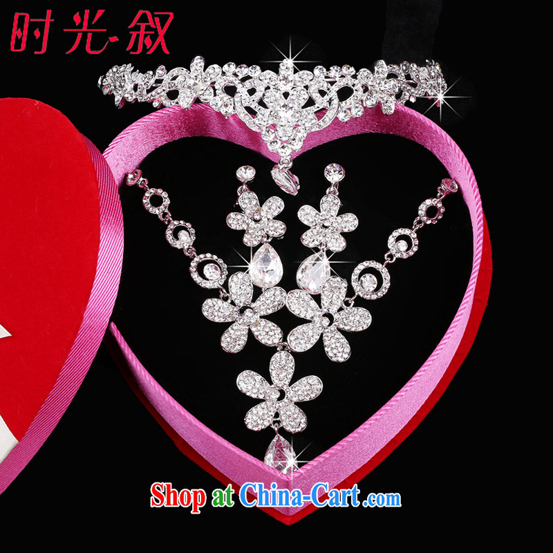 Time his Korean married women head-dress Crown 3 piece daisy-chain-trim and heart pendants, wedding dresses accessories gift box 3 piece set