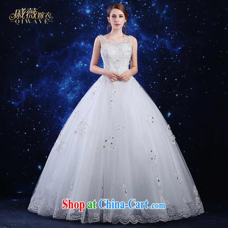 Qi wei summer 2015 new products, Japan, and South Korea wedding dresses dress bridal wedding dresses white long dual-shoulder lace with shaggy dress zipper leakage back beauty wedding female white XXL