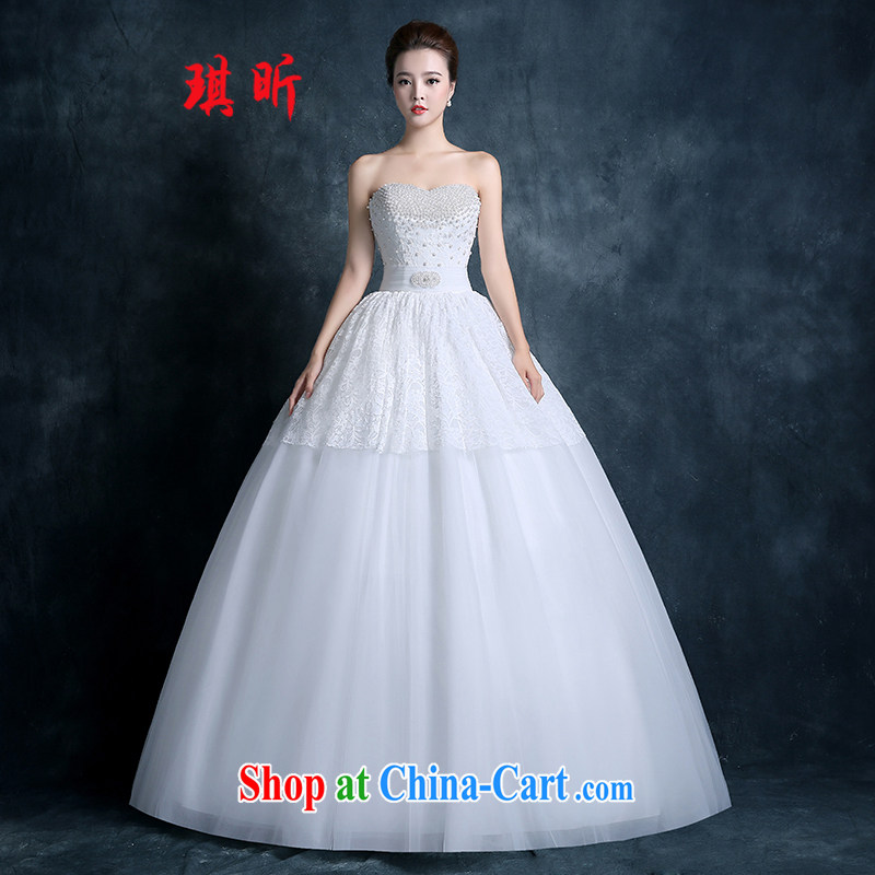 Angel year wedding dresses 2015 new marriages chest bare-white lace tie-in with the Code graphics thin Korean-style white XXL