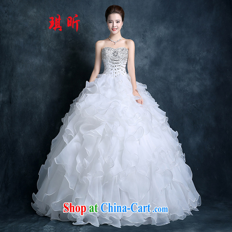 bare chest wedding dresses 2015 new autumn fashion Korean version the code graphics thin bridal wedding lace with package mail white XXL