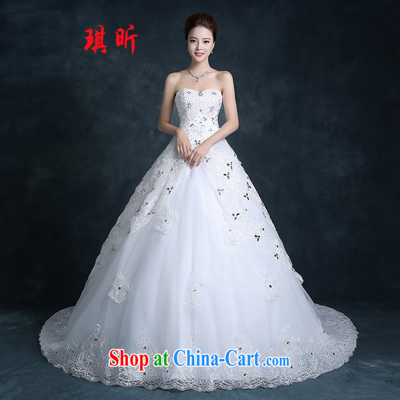 Angel year 2015 autumn new bridal wedding dresses long-tail erase chest cultivating the code with the flower-tail custom white XXL