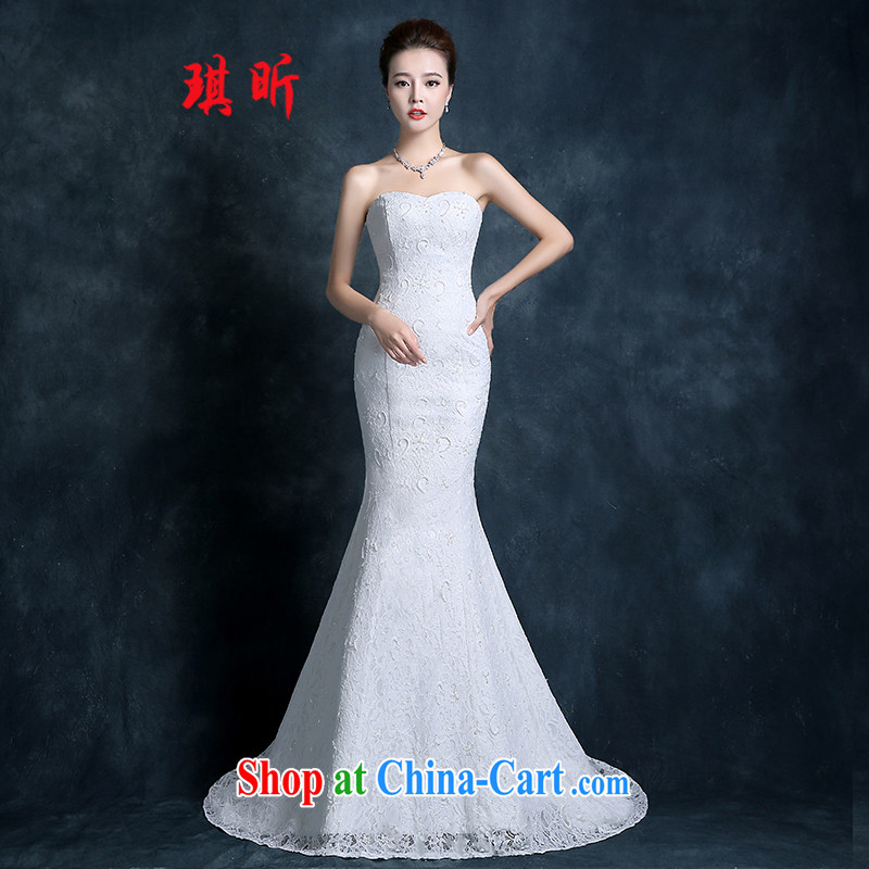 Angel year tail crowsfoot wedding dresses fall 2015 new Korean-style smears chest bridal lace white beauty code graphics thin female white XXL