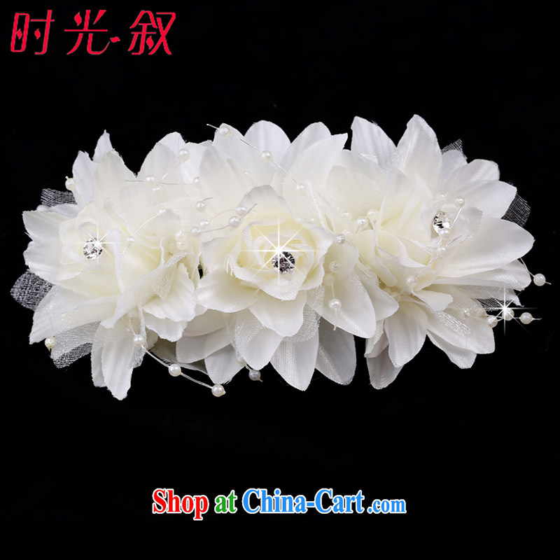 Time Syria rose wood drill brides and flowers flower Korean bridal headdress water drilling marriage hair accessories wedding-jewelry white