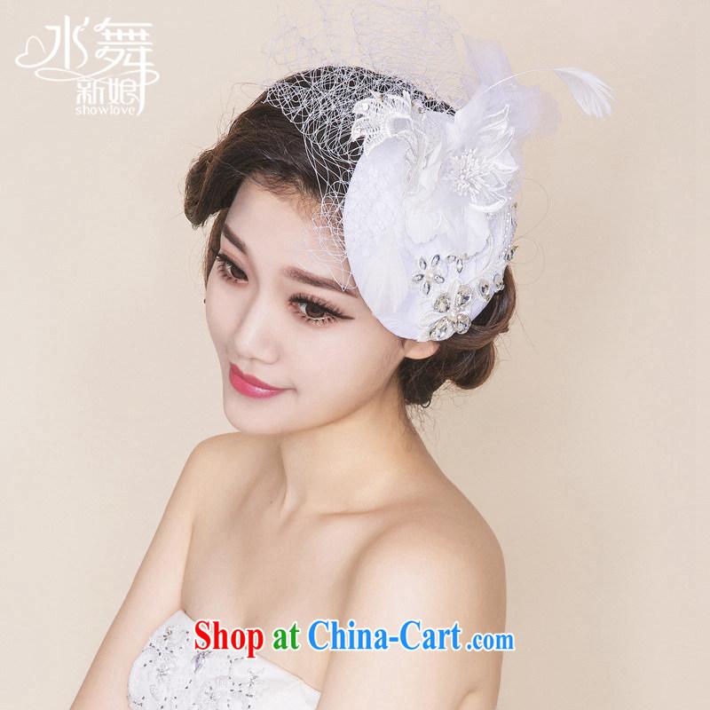 Water dance bridal hat retro elegant water drilling Web yarn cap marriage head-dress dress accessories B 0756 gift boxed