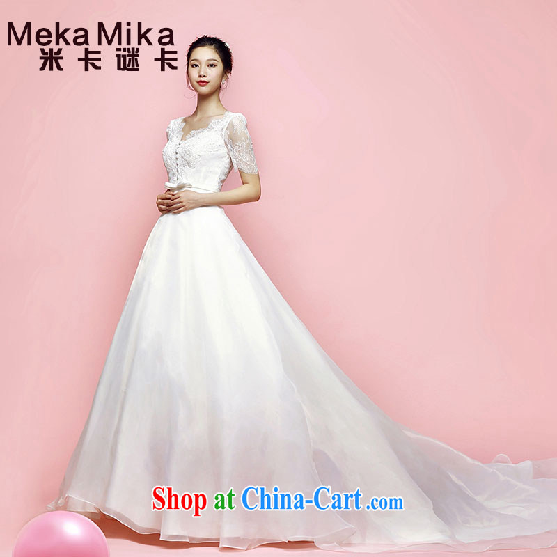 M card fan, wedding 2015 new summer Korean long-tail erase chest bubble cuff shoulders wedding bridal marriage ivory L
