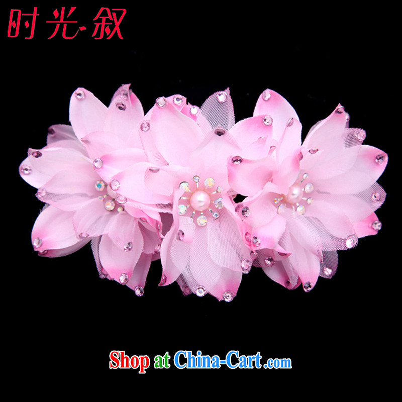 Time SYRIAN ARAB Magnolia wood drill brides and flowers flower Korean bridal headdress water drilling marriage hair accessories wedding-jewelry pink