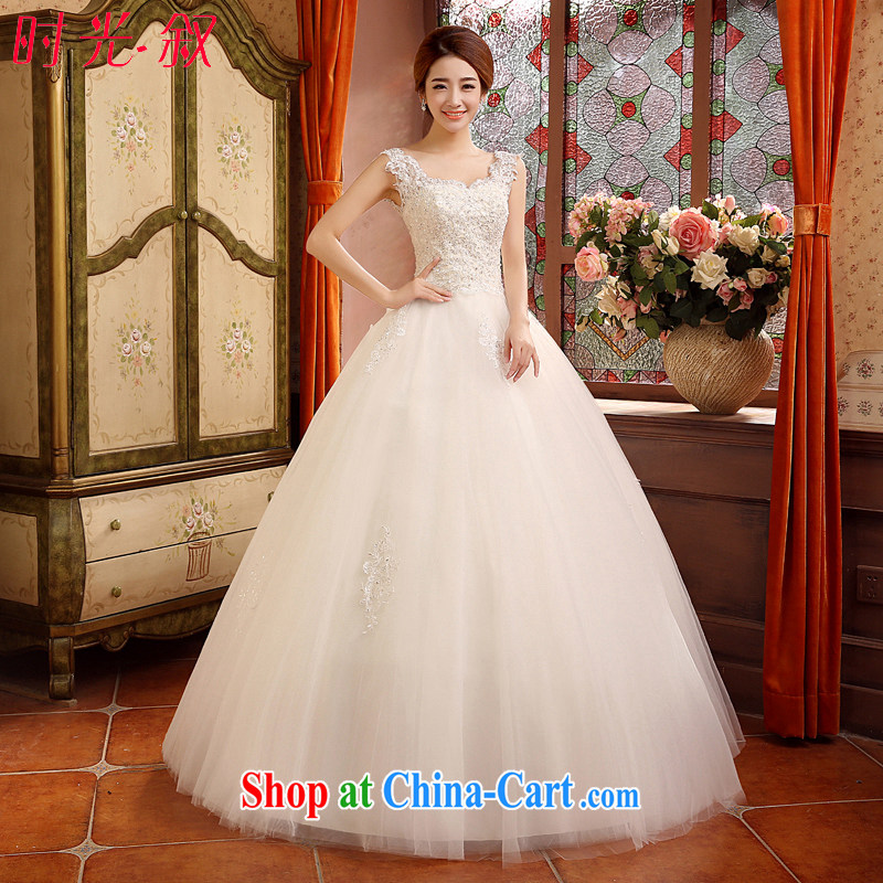 Time his 2015 summer bridal wedding dresses, Japan, and South Korea lace bridal with shoulders bare chest graphics thin wood drill and stylish white white XL