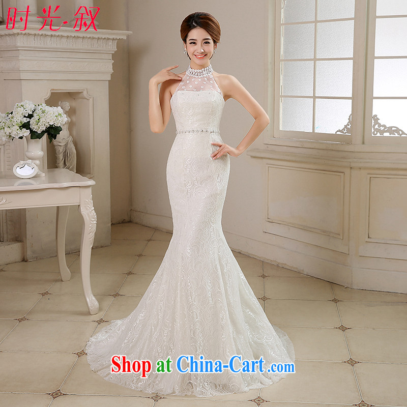 Time Syria, Japan, and South Korea wedding dress summer 2015 new retro lace a shoulder-mounted also inserts drill marriages crowsfoot wedding dresses trailing white XL