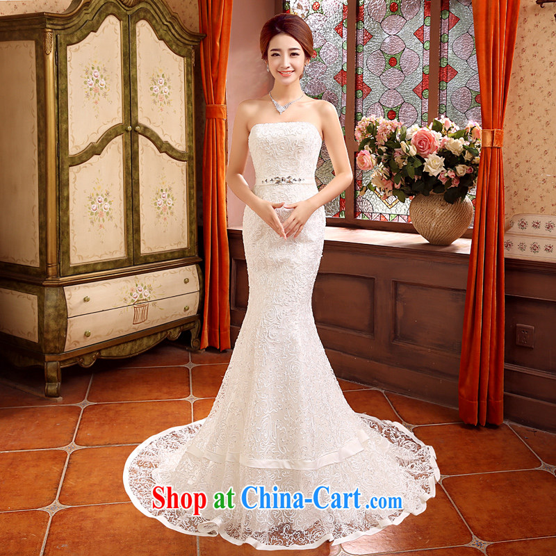 his time in summer 2015, Japan and the Republic of Korea wedding dress crowsfoot small tail wedding dresses new bride sexy bare chest wedding beauty graphics thin wedding female white XL