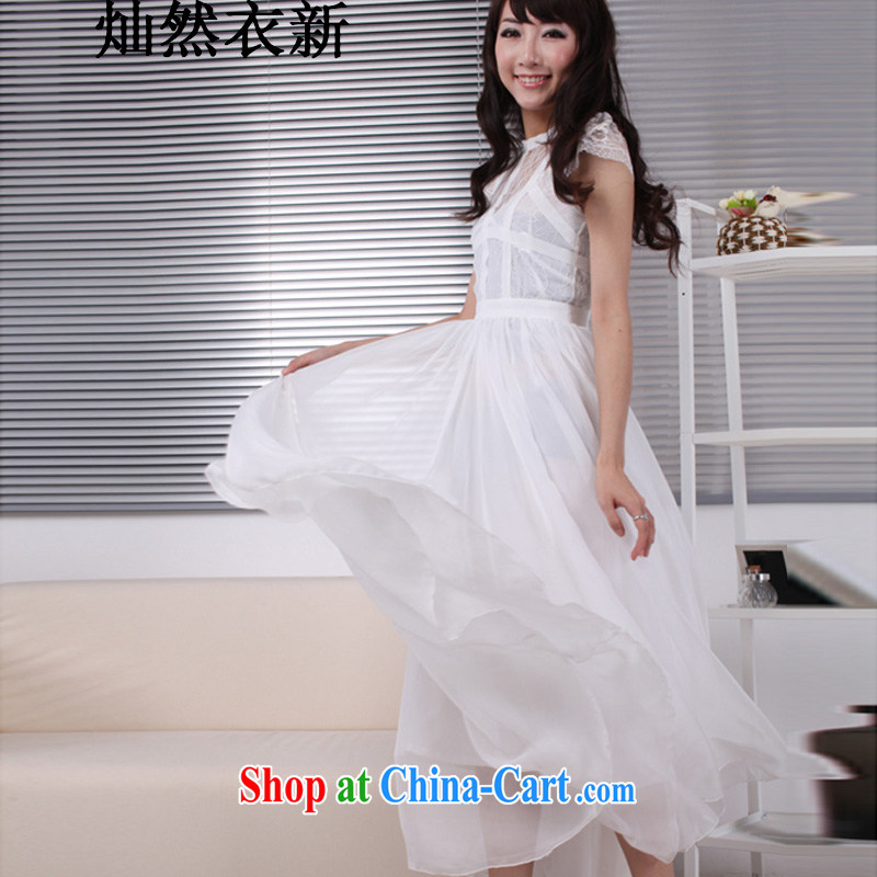 Also, Yi 2015 new Korea sin to drag and drop a short-sleeved lace snow woven skirts_beach skirt suits skirts wedding
