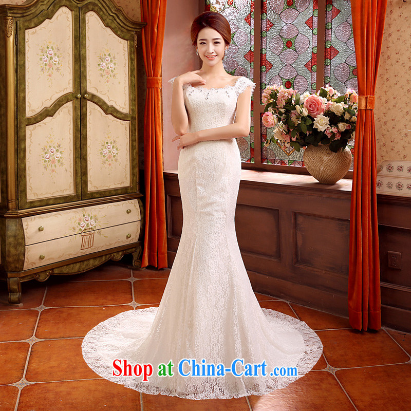 his time in summer 2015, Japanese and Korean wedding dress one shoulder crowsfoot small tail wedding dresses new bride sexy bare chest wedding beauty graphics thin wedding female white XL
